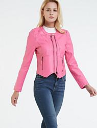 Недорогие -Жен. Повседневные Классический Короткая Кожаные куртки, Однотонный Круглый вырез Длинный рукав Полиуретановая Черный / Розовый M / L / XL