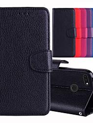 baratos -Capinha Para Huawei Y9 (2018)(Enjoy 8 Plus) / Y6 (2018) Porta-Cartão / Com Suporte / Flip Capa Proteção Completa Sólido Rígida PU Leather para Y9 (2018)(Enjoy 8 Plus) / Huawei Y6 (2018) / Huawei Y5