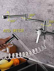 Недорогие -кухонный смеситель - Одной ручкой Два отверстия Хром Стандартный Носик / Горшок Filler Настольная установка Современный