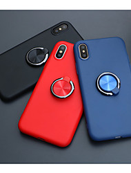 cheap -Case For Apple iPhone X / iPhone 8 / iPhone 8 Plus Ring Holder Full Body Cases Solid Colored Soft TPU / Metal for iPhone X / iPhone 8 Plus / iPhone 8