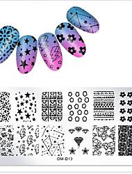 preiswerte -1 pcs Vorlage Klassisch / Kreativ Nagel Kunst Maniküre Pediküre Muster / Lässig / Alltäglich Freizeitskleidung
