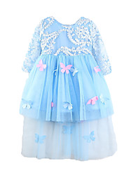 economico -Bambino Da ragazza Farfalla Tinta unita Manica lunga Vestito