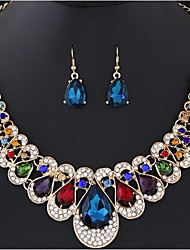 cheap -Women's Cubic Zirconia Hollow Out / Cuban Link Jewelry Set - Resin Drop, Flower Stylish, Classic, Elegant Include Dangle Earrings / Bib necklace Red / Blue / Champagne For Ceremony / Evening Party