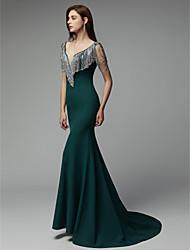 preiswerte -Trompete / Meerjungfrau V-Ausschnitt Hof Schleppe Chiffon Formeller Abend Kleid mit Kristall Verzierung durch TS Couture®
