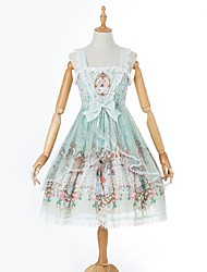 cheap -Sweet Lolita Dress Casual Lolita Dress Rococo Female Party Costume Masquerade JSK / Jumper Skirt Cosplay Green / Pink Stitching Lace Sleeveless Knee Length Halloween Costumes