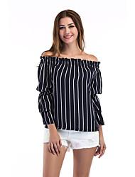 economico -T-shirt Per donna Sleeve Lantern A strisce Senza spalline / Largo