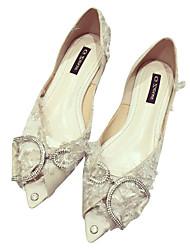 Недорогие -Жен. Обувь Полиуретан Лето Удобная обувь На плокой подошве На плоской подошве Заостренный носок Черный / Бежевый