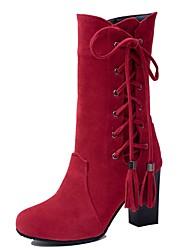 baratos -Mulheres Sapatos Camurça Outono & inverno Botas da Moda Botas Salto Robusto Ponta Redonda Botas Cano Médio Laço / Mocassim Cinzento / Marron / Vermelho