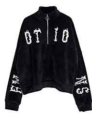 baratos -casaco / camisola slim de moletom com capuz manga longa esportiva para mulheres - carta com decote redondo