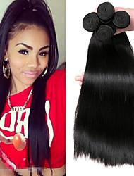 billige -4 pakker Mongolsk hår Lige Menneskehår Hovedstykke / Menneskehår, Bølget / Udvidelse 8-28 inch Menneskehår Vævninger Maskinproduceret Vævet / Bedste kvalitet / Hot Salg Sort Naturlig Farve