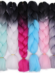 cheap -Braiding Hair Straight Crochet Hair Braids Synthetic Hair 1 pc Hair Braids Ombre 24 inch Ombre Braiding Hair / Faux Locs Wig Daily Wear African Braids / The hair length in the picture is 24inch.