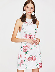 Недорогие -Жен. Облегающий силуэт Платье - Цветочный принт Мини