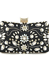 cheap -Women's Bags Cotton Clutch Beading / Crystals Floral Print Black / Light Gold