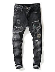 cheap -Men's Street chic Jeans Pants - Striped Black & Gray, Hole / Patchwork
