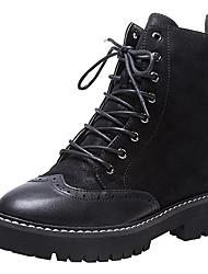 Недорогие -Жен. Обувь Замша / Наппа Leather Наступила зима Удобная обувь / Армейские ботинки Ботинки Блочная пятка Закрытый мыс Ботинки Черный