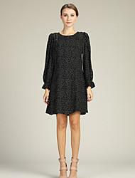 economico -Per donna Sleeve Lantern Chiffon / Camicia Vestito Sopra il ginocchio