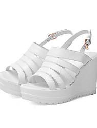 levne -Dámské Boty Nappa Leather Léto Pohodlné Sandály Klínový podpatek Bílá / Černá