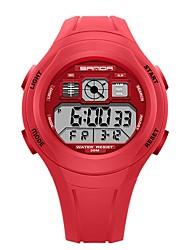 Недорогие -SANDA Муж. Жен. Спортивные часы электронные часы Японский Цифровой силиконовый Черный / Красный / Зеленый 30 m Защита от влаги Календарь Хронометр Цифровой Мультяшная тематика Мода -