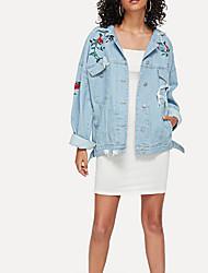 baratos -Mulheres Jaqueta jeans Básico - Floral / Botânico Bordado