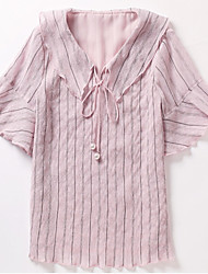 cheap -women's blouse - striped peter pan collar