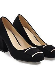baratos -Mulheres Sapatos Confortáveis Camurça Primavera Saltos Salto Robusto Preto / Cinzento / Rosa claro / Diário