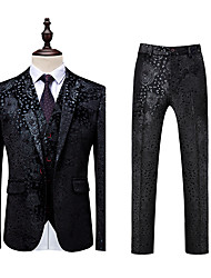 cheap -Men's Plus Size Suits-Floral Peaked Lapel / Long Sleeve