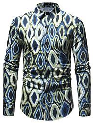 Недорогие -Муж. С принтом Рубашка Классический Горошек / В клетку