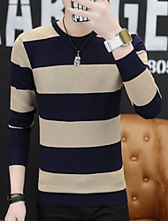cheap -Men's Long Sleeve Pullover - Striped