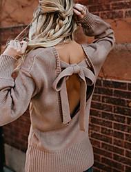 Недорогие -Жен. Классический / Уличный стиль Пуловер - Однотонный, Открытая спина