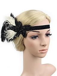 abordables -Gatsby le magnifique Rétro Années 20 Costume Femme Bandeau Garçonne Coiffure Blanc / noir +Doré Vintage Cosplay Cristal / Strass Plume Fibre synthétique Soirée Fête scolaire