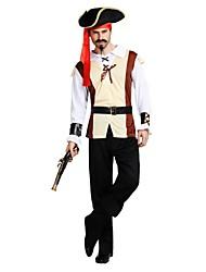 baratos -Piratas do Caribe / Pirata Roupa Homens Dia Das Bruxas / Carnaval / Dia da Criança Festival / Celebração Trajes da Noite das Bruxas Bege Sólido / Halloween Dia Das Bruxas