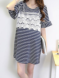 cheap -Women's Basic T Shirt Dress - Striped Lace Trims
