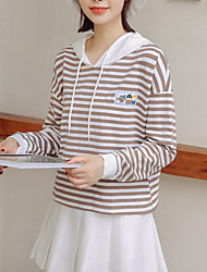 povoljno -ženska dugmadska kapuljača - prugasta kapuljača