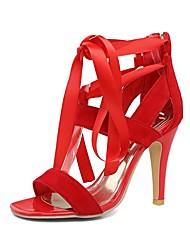 abordables -Mujer Zapatos Satén Verano Con Lazo Sandalias Tacón Stiletto Puntera abierta Corbata de Lazo Morado / Rojo / Azul