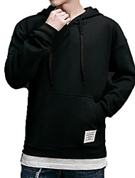 cheap -Men's Plus Size Long Sleeve Long Hoodie - Solid Colored Hooded