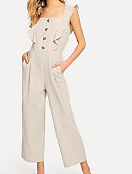 cheap -Women's Cotton Romper - Solid Colored / Geometric Wide Leg