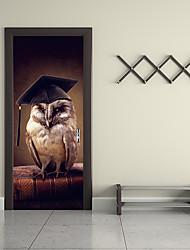 Недорогие -Дверные наклейки - 3D наклейки Абстракция / Животные Гостиная / Спальня