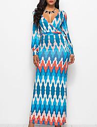 baratos -Mulheres Moda de Rua / Sofisticado balanço Vestido - Patchwork / Estampado, Geométrica / Estampa Colorida Longo