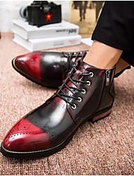 billige -Herre Fashion Boots Syntetisk læder Efterår / Vinter Britisk Støvler Hold Varm Ankelstøvler Sort / Brun / Rød