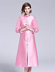 baratos -Mulheres Vintage / Temática Asiática Evasê Vestido - Bordado, Floral Médio