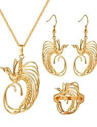 abordables -Femme Ensemble de bijoux - Oiseau Rétro Comprendre Boucles d'oreille gitane Pendentif de collier Bague Or Pour Cadeau Quotidien