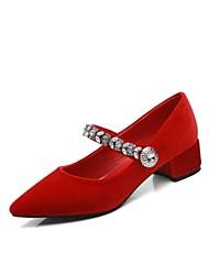 baratos -Mulheres Sapatos Camurça Primavera & Outono Plataforma Básica Saltos Salto Robusto Dedo Apontado Pedrarias / Presilha Preto / Roxo / Vermelho