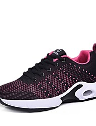 cheap -Women's Shoes Knit Spring Comfort Athletic Shoes Walking Shoes Flat Heel Fuchsia / Light Grey / Black / Red