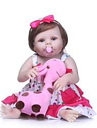 Недорогие -NPKCOLLECTION NPK DOLL Куклы реборн Девочки 24 дюймовый Полный силикон для тела Винил - Новорожденный Подарок Искусственные имплантации Голубые глаза Детские Девочки Игрушки Подарок