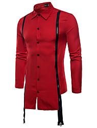 billige -Herre - Farveblok Basale Skjorte