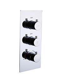 baratos -válvula torneira para lavatório / para banho quente e fria torneira misturadora para banheira / 2 vias / de parede / em cromo / em latão / para fluxo de água grande / contemporânea