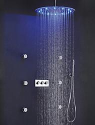abordables -robinet de douche de bain contemporain set / 20 pouces ronde pluie led pommeau de douche / laiton douchette inclus / 6 pcs spa massage body sprayer jets