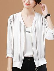 levne -Dámské Denní Šik ven Standardní Bunda, Proužky Kulatý Dlouhý rukáv Polyester Bílá M / L / XL