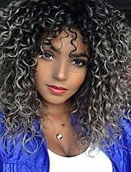 abordables -Perruque Synthétique Bouclé Partie médiane Cheveux Synthétiques 18 pouce Cheveux Colorés / Au Milieu / Pour Cheveux Africains Gris Perruque Femme Mid Length Sans bonnet Gris noir