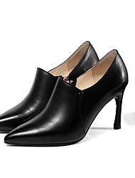 cheap -Women's Nappa Leather Fall Basic Pump Heels Stiletto Heel Black / Beige